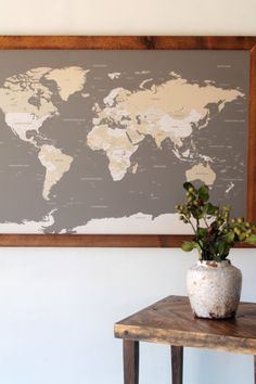 World Push Pin Travel Map in Wood Frame 24x36 1st by DegnodiNota