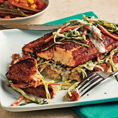 Open-Faced Blackened Catfish Sandwiches < Classic New Orleans Recipes - Cooking Light