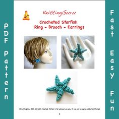 Crochet Jewelry Pattern Starfish Ring Brooch Earrings - Very Easy DIY with many photos