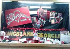 """The Georgia Visitor Information Center in Kingsland is now home to a Lovetown, USA display! The display includes signs, pictures and postcards collected during the Lovetown, USA project, as well as a short write-up about """"Lovetown, USA""""."""
