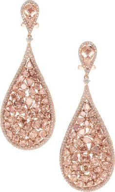 Blush Pink Diamond and Rose Gold Earrings-The earrings feature full cut, pear, marquise, oval, and cushion shaped diamonds ranging in color from fancy light pink, fancy brownish pink to fancy purplish pink, weighing a total of 8.89 carats, accented by full cut diamonds weighing a total of .95 carat, in 18k pink gold