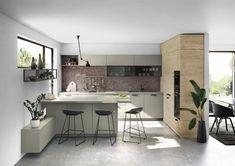 Küchen Design, Double Vanity, Kitchen, Table, Furniture, Home Decor, Meal, Dark Kitchens, Modern Kitchen Inspiration