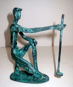 Deocrative Crafts Wrought Iron Verdigris Golfer Figurine #4703 Hand Crafted