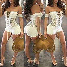 dc08830ce Imily bela women s sexy bikini off shoulder lace up mesh knit crochet  swimsuit cover up swimwear – Artofit