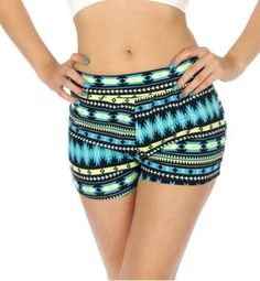 Rain on Me Blue and Yellow Aztec Print Super Stretch Shorty Shorts - Juniors Sizing Price: $12.99