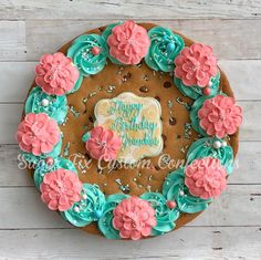 Love the colors of this Cookie, cookie cake! Giant Cookie Cake, Cookie Cake Birthday, Chocolate Chip Cookie Cake, Big Cookie, Giant Cookies, Cookie Cake Decorations, Cookie Cake Designs, Chocolate Decorations, Cookie Decorating