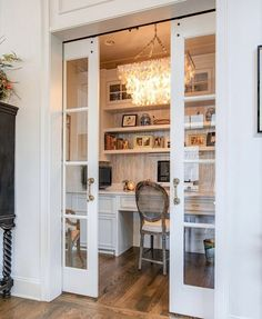 """We call this the """"Cloffice"""" – a closet office. When you don't necessarily need a large office, why not turn large closet into your very own… Tiny Home Office, Home Office Closet, Small Space Office, Office Nook, Home Office Space, Home Office Decor, Small Spaces, Home Decor, Closet Turned Office"""