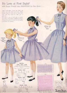 """Matching mother/daughter dresses were """"in"""" in the 1950s."""