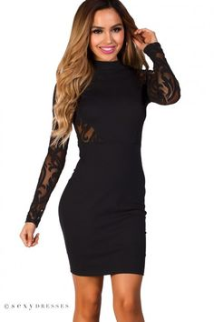 Black lace ruched high neck belted dress