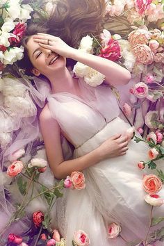 ❀ Flowers in her hair ❀ Lay me down in a bed of roses... More