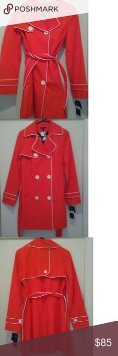 New Tommy Hilfiger trench dress coat This is a very beautiful and stylish double-breasted Tommy Hilfiger dress trench coat that is new with tags and resales for $198. This coat never been worn and still has tags attached beautiful orange color Tommy Hilfiger Jackets & Coats