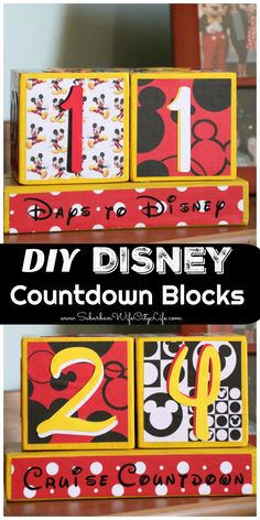 We love to countdown the days to our next Disney adventure so I decided to make some DIY Disney Countdown Blocks that countdown for a trip to the parks or a cruise! Disney Countdown, Trip Countdown, Countdown Ideas, Disney Diy, Disney Crafts, Walt Disney, Disney Ideas, Disney Magic, Disney Vacations