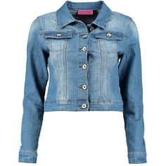 Boohoo Hannah Cropped Denim Slim Fit Jacket ($35) ❤ liked on Polyvore featuring outerwear, jackets, blue trench coat, cropped denim jacket, trench coat, motorcycle jacket and blue jackets