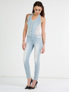 ELENE/SF JUMPSUIT #metjeans #style #fashion #girl #model #woman #apparel #look #outfit #ootd #spring #summer #details #denim #jeans #diamonds