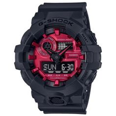 Men's Casio Adrenalin G-shock Analog-Digital Watch with Red Dial and Black Resin Strap Casio G-shock, Casio Watch, High End Watches, Watches For Men, Popular Watches, G Shock Watches Mens, G Shock Men, Running Watch, Expensive Watches