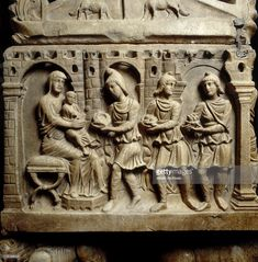 Adoration of the Magi, left side view of the Sarcophagus of St. Catervus and Settimia, in the Chapel of San Catervo, Cathedral of Tolentino