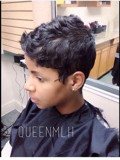 Oooooh I'm soooooooo tempted! Black Pixie Haircut, Short Pixie Haircuts, Short Sassy Hair, Short Hair Cuts, Pixie Cuts, Short Haircut Styles, Short Styles, Pixie Styles, Short Relaxed Hairstyles