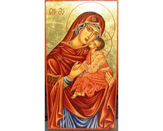 Items similar to Handpainted Classic Icon of Holy Virgin Compassion-OOAK Handmade Crafts on Etsy Pope Of Rome, Felt Gifts, Wraps, Blessed Mother Mary, Religious Icons, Handmade Crafts, Holi, Gifts For Women, Compassion