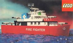 ItemName: Lego Fire Fighter Ship, ItemType: Set, ItemNo: Buy and sell LEGO parts, Minifigs and sets, both new or used from the world's largest online LEGO marketplace. Vintage Boats, Vintage Lego, Whitetail Deer Hunting, Lego Fire, Classic Lego, Kids Toys, Children's Toys, Lego Parts, Lego Models