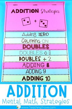 Teach addition strategies to your first grade and second grade students. Use the addition flip book to teach strategies such as count ons, doubles, near doubles, making a ten. Practice each…