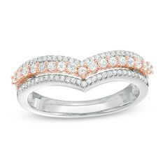 3/8 CT. T.W. Diamond Triple Row Chevron Band in 10K Two-Tone Gold - Save on Select Styles - Zales