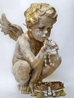 Large cherub figure statue art piece hand by AnitaSperoDesign, $260.00