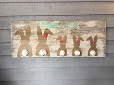 Handmade on reclaimed wood by Farmhouse Clutter - family bunny Sign, perfect Easter Decor