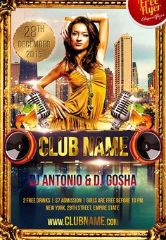 """Free Club Name Party Flyer Template - http://freepsdflyer.com/free-club-name-party-flyer-template/ PSD is set up in 1275×1875 dimension (4,6"""" with 0,25"""" bleed). You can easily change texts, content, images, objects and color palette. The PSD file is very well organised, with color coded groups and layers named appropriately.   #Bar, #Beats, #Club, #Dance, #Deluxe, #Diva, #DjBattle, #Dubstep, #EDM, #Electro, #Glamorous, #Gold, #HipHop, #Ladies, #Lounge, #Night, #Night"""
