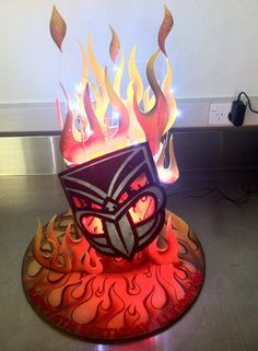 Lleighton's Warriors birthday cake was on fire