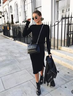 all black outfit ideas, black sweater, pencil skirt, combat boots and leather jacket