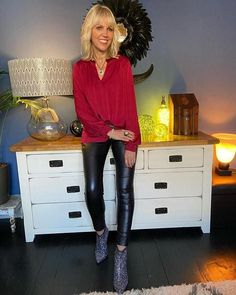 Lynne in leather and a red blouse with sparkly boots | 40plusstyle.com| How To Wear Leggings, Best Leggings, Faux Leather Leggings, Photos Of Women, Fashion Over 40, Red Blouses, Trousers, Style Inspiration, Outfits