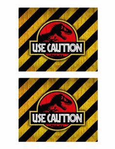 Use Caution over red dinosaur print Jurassic World Movie June 2015 Free dinosaur (Jurrasic Park) party printables Birthday Party At Park, Dinosaur Birthday Party, 6th Birthday Parties, Birthday Ideas, Dinosaur Printables, Party Printables, Festa Jurassic Park, Jurrassic Park, Lego Jurassic World