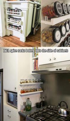 IKEA spice racks bolted onto the side of cabinets