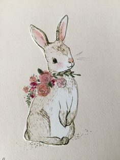 Easter bunny rabbit with flowers art illustration. Simple Flowers, Lavender Flowers, Happy Easter, Easter Bunny, Bunny Drawing, Simple Drawings, Bunny Rabbits, Kids Prints, Rock Painting