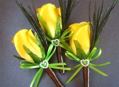Maybe no pearls... Yellow wedding boutonniere groomsmen boutineer yellow rose groom silk flower wedding boutineer men artificial flowers rose boutonniere lapel. $11.50, via Etsy.