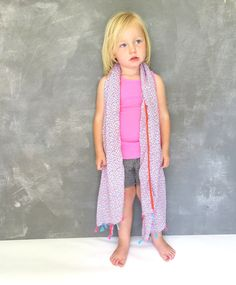 Le Big girls scarf, Lamade rib hot pink tank top, Imps and Elves striped shorts