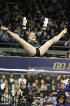 UCLA gymnast Norah Flatley performs her routine on the uneven bars. Gymnastics Routines, Gymnastics Flexibility, Gymnastics Poses, Amazing Gymnastics, Gymnastics Photography, Gymnastics Pictures, Sport Gymnastics, Artistic Gymnastics, Olympic Gymnastics