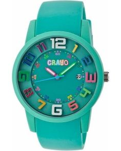 Women's Crayo Festival Watch with 3D Raised Numbers and Date Display-Teal, Blue