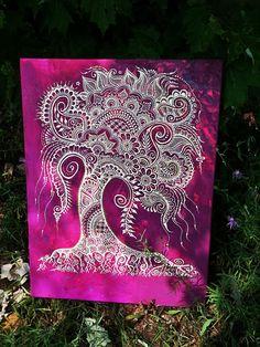 40 Ideas Tree Of Life Mandala Shops Mandala Painting, Dot Painting, Painting & Drawing, Tatoo Henna, Henna Art, Henna Mehndi, Tattoo, Henna Canvas, Zantangle Art