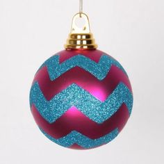 Cerise Pink Matte and Turquoise Blue Glitter Chevron Shatterproof Christmas Ball Ornaments 4 inch(100mm)