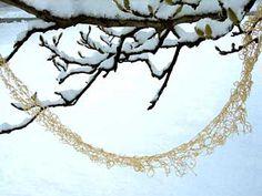 "Abigail Doan, ""Crocheted Snow"", tencel fiber, branches, ice, snow, 2005."