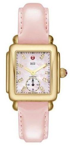 MICHELE Pink Diamond Dial Customizable Watch