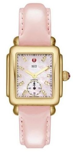 MICHELE Pink Diamond Dial Customizable Watch