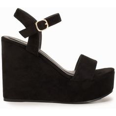 Nly Shoes Platform Wedge Sandal ($54) ❤ liked on Polyvore featuring shoes, sandals, heels, wedges, sandales, zapatos, black, party shoes, womens-fashion and black sandals