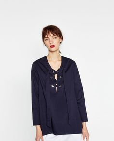 LOOSE BLOUSE WITH TIE FRONT-View all-TOPS-WOMAN | ZARA United States