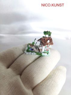 OOAK Dollhouse Miniature, Very small house, Micro house ,Nico.Kunst #Handmade