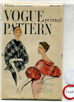 Vintage SEWING PATTERN Vogue 1958 MISSES' CAPELETS Cape-Stole PUFFED SLEEVES Sm.