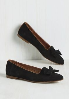 The Grand Toe-tal Flat. When you add together the details of these black loafers from Borovo My Ballerinas, youll get a ModCloth-exclusive style thats beyond quantifying. #black #modcloth