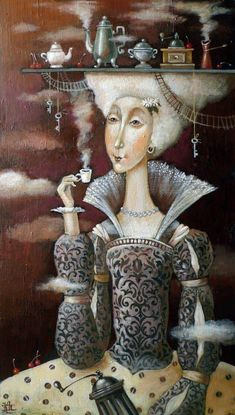 Painting «Not titled Tea Illustration, Tea Art, Pop Surrealism, Arte Pop, Fantastic Art, Coffee Art, Whimsical Art, Surreal Art, Folk Art