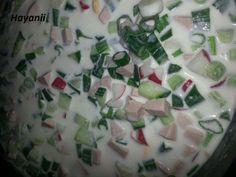 Das perfekte Russische kalte Suppe (Okroschka)-Rezept mit einfacher Schritt-für-Schritt-Anleitung: Alle Zutaten in kleine Würfel schneiden in einen Topf…